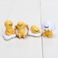 3cm 4pcs/Lot Gudetama Egg keyring pendant Cute Lovely Gudetama Toys Yellow White Lazy Egg keychain Action Figure Toy