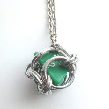 Green Gamer Pendant Chainmaille Pendant Dungeons & Dragons, Geekery Gamer Jewelry, Fandom, D4 Pendant, Comiccon, Mens Chain, Guy Jewelry