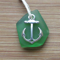 Emerald Green Sea Glass Nautical Anchor Necklace