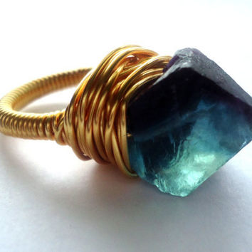 Rainbow fluorite gold ring - size 6 1/2 ring  - wrapped ring - raw stone ring - natural stone ring - cocktail ring - chunky ring