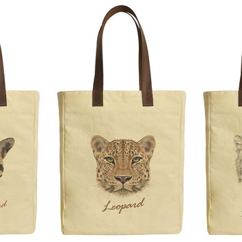 Leopard Portraits Beige Printed Canvas Tote Bags Leather Handles WAS_30
