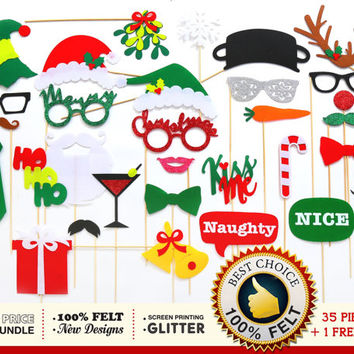Ugly Christmas Sweater Party Photo Props. FELT Christmas photo booth props. Santa Claus, Reindeer, Snowman photo props