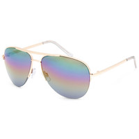 Blue Crown Rainbow Aviator Sunglasses Gold One Size For Women 25377962101