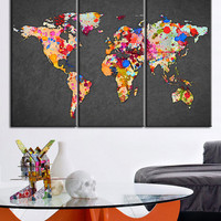 Canvas Print WORLD MAP Gray Background   - Watercolor World Map 3 Piece Canvas Art Print - Ready to Hang - Colorful Mix World Map