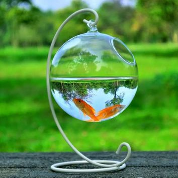 With 12cm Height Rack Holder Round Shape Hanging Glass Aquarium Fish Bowl Fish Tank Flower Plant Vase Home Decoration