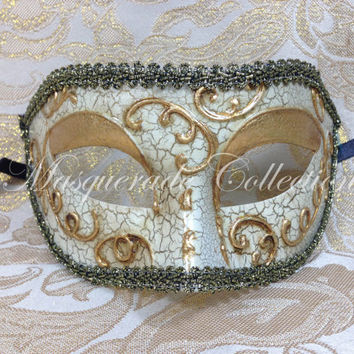 Masquerade Men's Collection - Gold Lining Medieval Venetian Masquerade Mask 'Phantom of the Opera'