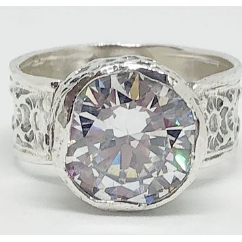 SALE    A Flawless Handmade Bezel Set 3.4CT Round Cut Lab Diamond Engagement Ring