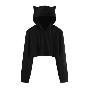 Casual women sweatshirt Cat Ear Solid Jumper Female long-sleeved pullovers hoodies Soft Ladies Tops in Black Hot Fashion 2018