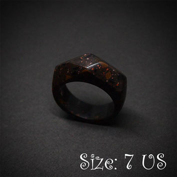 Size 7 US, Brown ring, Brown stone ring, Corian ring, Brown jewelry, Coffee bean ring, Acrylic stone ring, Stone ring, Stone jewelry