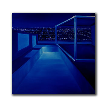 The City - gallery stretched canvas, blue painting by McKenzie Fisk