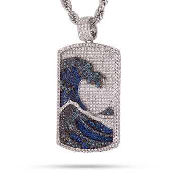 The Great Wave Dog Tag Necklace