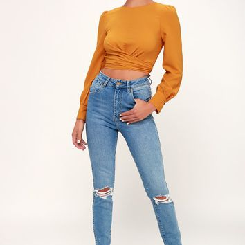 Brighten Your Day Golden Yellow Long Sleeve Backless Crop Top