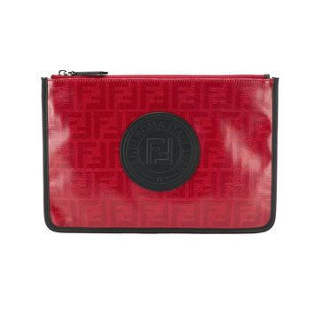Red Motif Pattern Pouch by Fendi