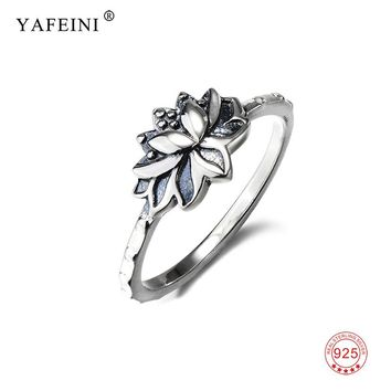 S925 Lotus Wedding Band Ring 925 Sterling Silver Lotus Flower Jewelry Symbol Namaste Yoga Finger Rings For Women FIt Party