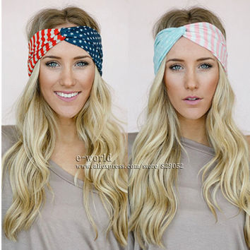 Cotton American Flag Turban Headbands for Women 4th of July USA Headband Hair Bands Bows head band Girls Hair Accessories A0394