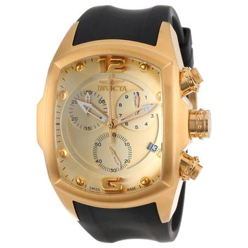 Invicta 14018 Men's Lupah Revolution Gold Tone Dial Chronograph Rubber Strap Watch