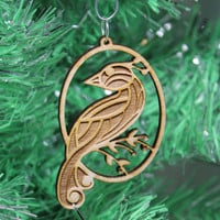 Partridge Christmas Ornament Plywood Laser Cut and Engraved