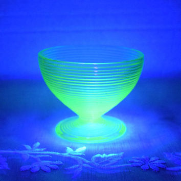 Manhattan Hocking Vaseline Sherbet Glass Vintage Uranium Glass Cup Custard Ice Cream Bowl Ribbed Style Collectible Vaseline Glass