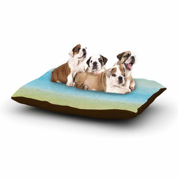 "Jennifer Rizzo ""Watercolor Paint Stripe"" Blue Tan Dog Bed"