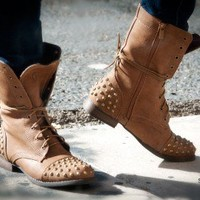 Bumper Frances-02 Studded Military Lace Up Boot (Tan) - Shoes 4 U Las Vegas