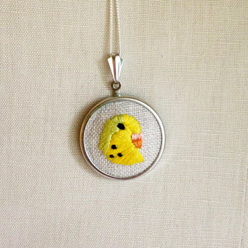 Green and Yellow Parakeet Budgie Embroidered Bird Necklace Embroidery Pendant or Brooch