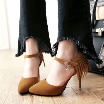 Stylish Design Summer Pointed Toe Elegant High Heel Shoes Tassels Hollow Out Sandals [4920246020]