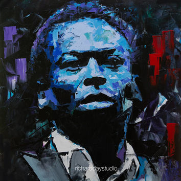 "Miles Davis, Original Painting, 24"", Art, Jazz, Musician, Portrait, Abstract, Palette Knife, Blues, Composer, Richard Day"