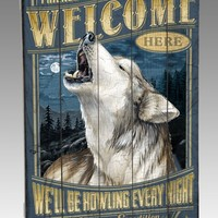 Gray Wolf Wooden Cabin Sign