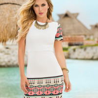 Tribal Print Short Sleeve Mini Dress-Light Summer Dresses