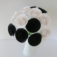 "Black & white Flower bouquet one dozen paper 1.5"" roses art Bridal floral arrangement Over the hill 50th B-day retirement dead flowers"
