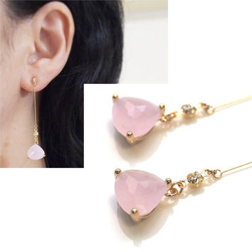 Dangle Pink Crystal Invisible Clip On Earrings, Peach Pink Clip Earrings, Non Pierced Earrings, Pale Pink Clip ons, Gold Clip-on Earrings