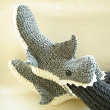 Crochet Shark Shoes Free Pattern : Shop Shark Slippers on Wanelo