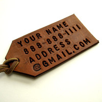 Personalized Luggage Tag Tan Brown Leather Custom Luggage Tag Bespoke