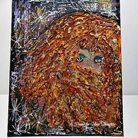 Hair Day Mixed Media Canvas Board. Ready to Ship
