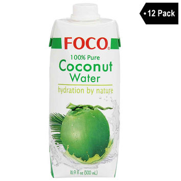 12 Pack Foco 100% Pure Coconut Water 16.9 fl. oz.