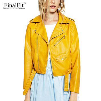 FinalFit Leather Jacket Women, Autumn&Winter PU Faux Leather Ladies Motorcycle Leather Basic Jacket