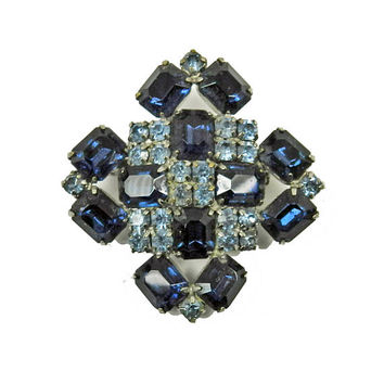 Juliana Maltese Cross Brooch Pin Montana Sapphire Blue Sky Blue Glass Rhinestone DeLizza Elster Vintage Jewelry Jewellery
