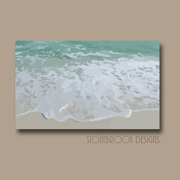 Beach Wall Art CANVAS Abstract Painting Coastal Nautical Shore Ocean Artwork Water Waves Large Image Wrap Home Decor Free Shipping
