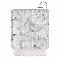 "Kess Original ""White Marble"" Gray White Shower Curtain"
