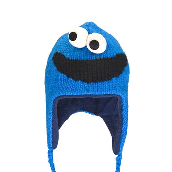 Sesame Street - Cookie Monster Head Kids Peruvian Knit Hat