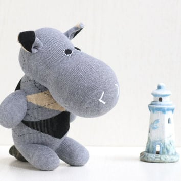 Handmade  stuffed   hippo  for kids  Stuffed Animal  baby Plush Toy   sock doll   Ready to Ship