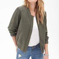 LOVE 21 Woven Bomber Jacket Dark Olive