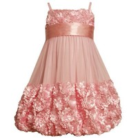 Size-2T BNJ-7780R PINK DIECUT BONAZ BORDER BUBBLE MESH Special Occasion Wedding Flower Girl Easter Pageant Party Dress,R29719 Bonnie Jean TODDLERS