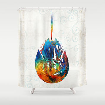 Colorful Horseshoe Crab Art by Sharon Cummings Shower Curtain by Sharon Cummings