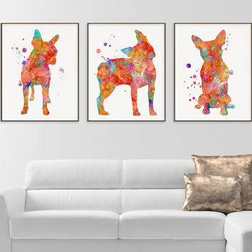 Boston Terrier Watercolor Art Print, Boston Terrier Painting, Set of 3 Prints, Boston Terrier Wall Art, Boston Terrier Wall Decor, Dog Lover