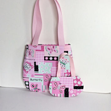 Matching Doll and Girl Purses, 18 Inch Doll Purse, Girl Purse, Pink Butterfly Doll and Girl Purses, Sized for American Girl Dolls