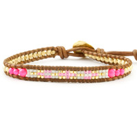Neon Pink Beaded Single Wrap Bracelet on Natural Brown Leather - Chan Luu