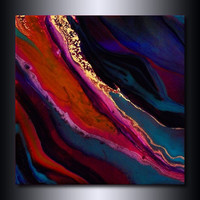 Multi Coloured Metallic Painting: Jewel Toned Magenta Orange Blue Copper