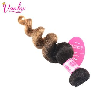 Vanlov Peruvian Ombre Hair Bundles Human Hair Ombre Loose Wave Bundles Blonde Hair Extension Double Weft  2 Tone 1B/27 Non Remy