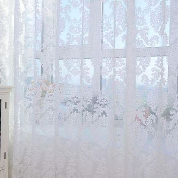 DCCKU7Q Super Deal  European style Tulle Door Window Curtain Drape Panel Sheer Scarf Valances XT